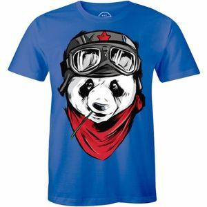 Big Pilot Panda Bear Graphic Printed Tee T-shirt